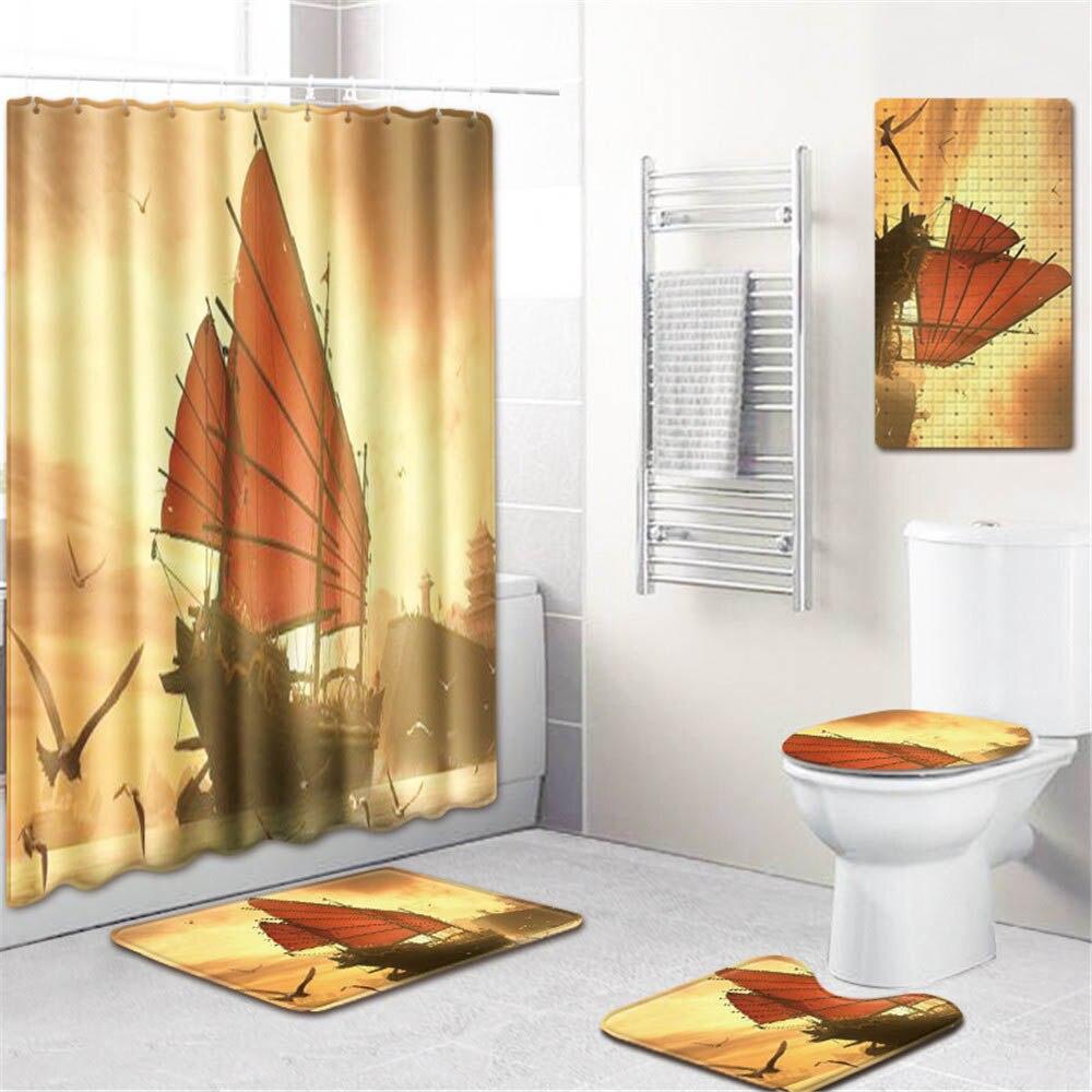 5 pièces impression 3d salle de bains rideau de douche imperméable Polyester tissu lavable bain rideau écran crochets antidérapant tapis de bain tapis