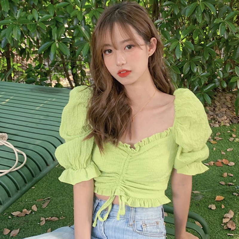Women's Solid Color Slash Neck Blouses Sweet Sexy Short Sleeve Korean Style Sexy Shirt 2