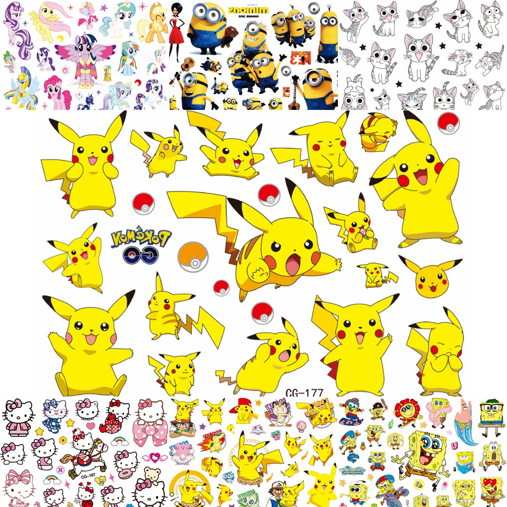 Cute Comic Pokemon Temporary Tattoos For Baby Kids Boys Gifts Cartoon Tatoo Paper DIY Body Art Waterproof Pikachu Tattoo Sticker