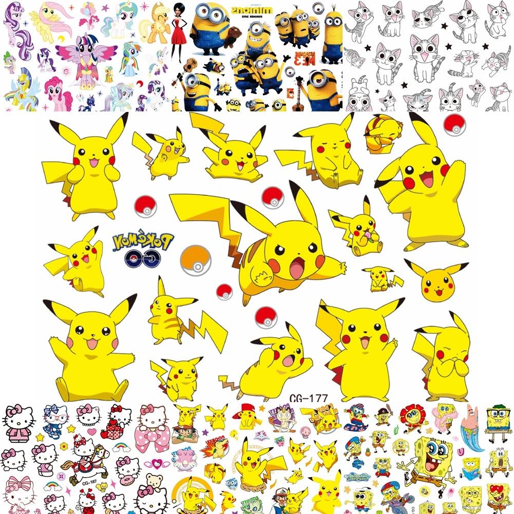 Cute Comic Pokemon Temporary Tattoos For Baby Kids Boys Gifts Cartoon Tatoo Paper DIY Body Art Waterproof Pikachu Tattoo Sticker