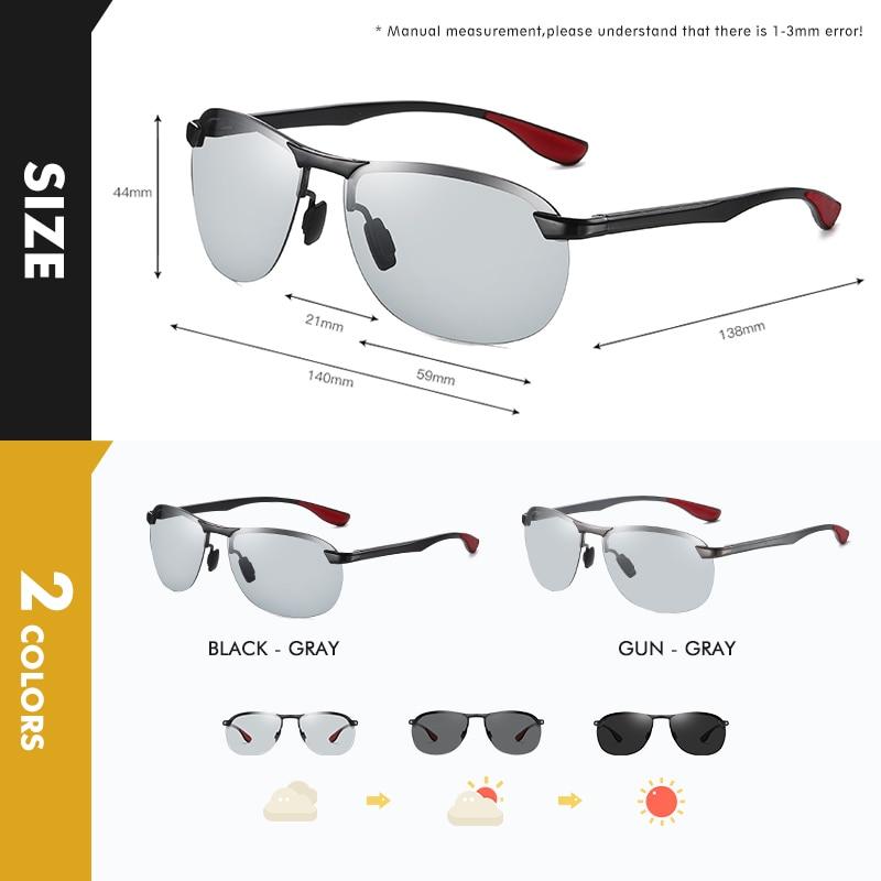 2020 Brand Photochromic Men Sunglasses Polarized Glasses Day Night Vision Driving Sun Glasses For Male Oculos De Sol Masculino 4