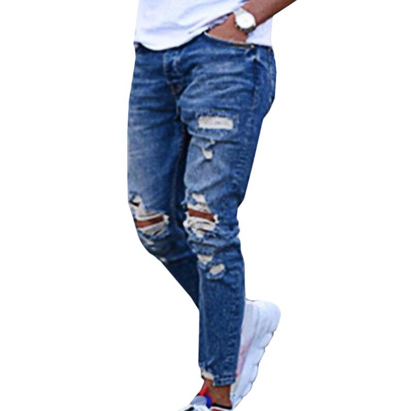 Fashion Men's Jeans Summer Caual Pants Hole Ropa De Hombre 2020 Male Jeans Sexy Denim Pencil Pants Men Clothing Streetwear #W