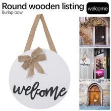 Znak witający gości rustykalne frontowe drzwi wystrój drewno okrągłe znak do zawieszenia ozdoby ganek na dom dziękczynienia tanie tanio CN (pochodzenie) Duszpasterska ROUND Home Decor Drewno drewniane