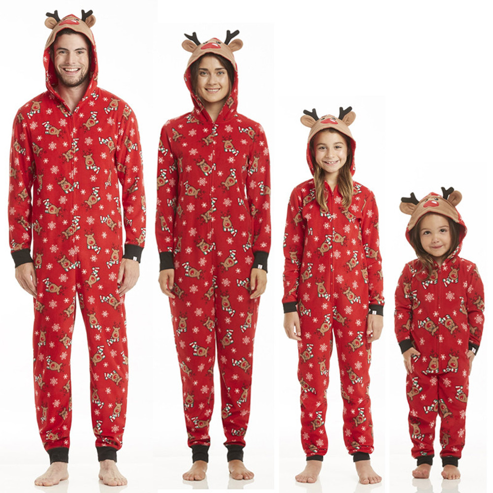 Christmas Family Matching Pajamas Sleepwear Nightwear Cute Deer Dad Mother And Daughter Kids Baby Clothes Outfits Costume