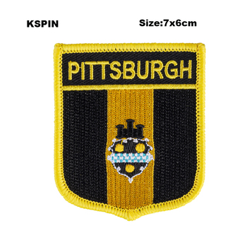 Pittsburgh Shield Shape Flag patches embroidered flag patches national flag patches for Cothing DIY Decoration