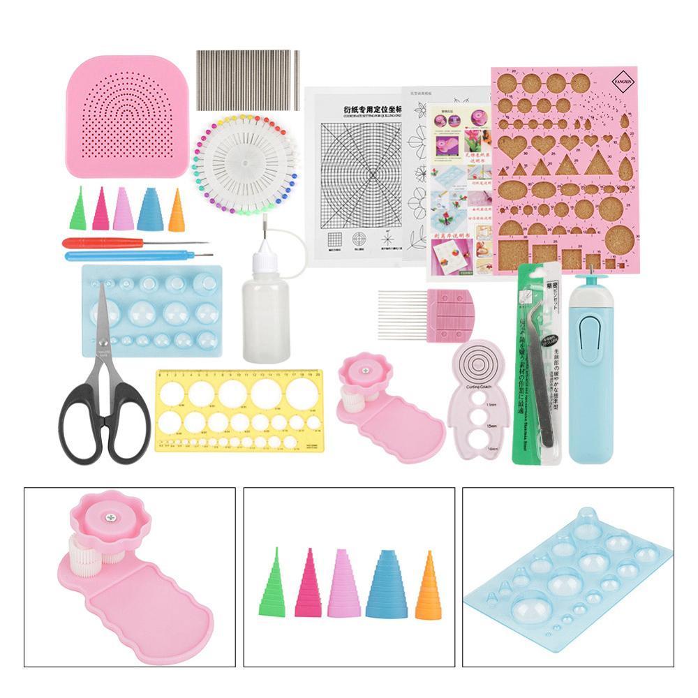 24 pc/set diy quilling papel entalhado ferramentas define arte artesanato decoração (cor aleatória) para fazer artesanato de papel