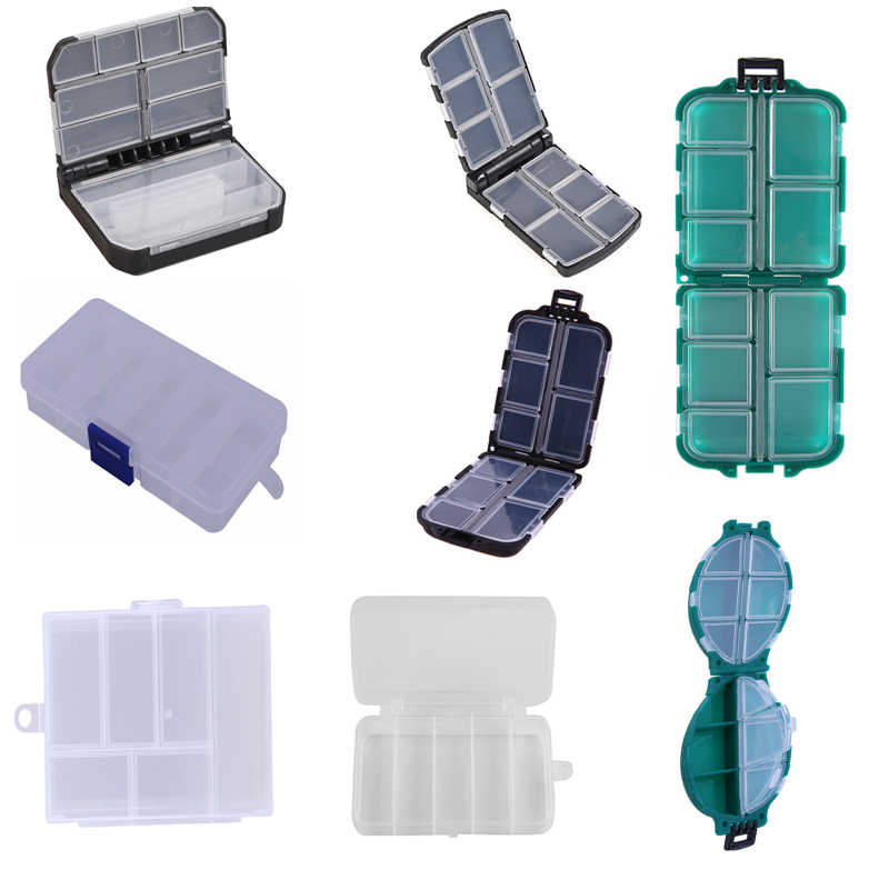 6/10/12 Fishing Lure Compartments Storage Case Box Plastic Fish Lure Spoon Hook Bait Tackle Box Pesca Isca Fishhook Box
