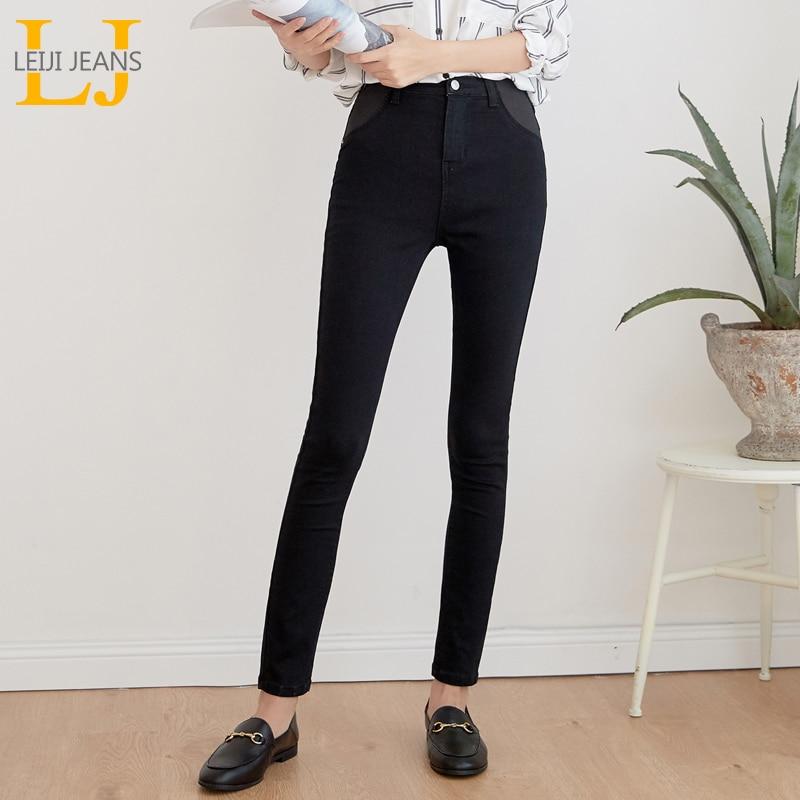 LEIJIJEANS 2019 Elastic Legging Autumn 5XL  High Waist Mom Jeans Casual Ladies High Stretchy Jeans Plus Size Waist Women Jeans