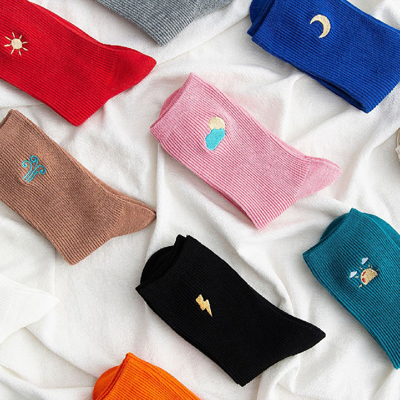 Autumn And Winter Korean Trend Female Socks Weather Embroidery Pile Socks Candy Color Tube Socks
