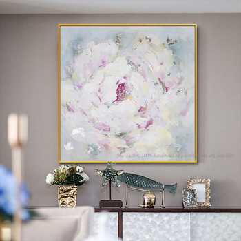 Abstract oil painting on canvas handmade pink rose flower palette knife painting for living room bedroom decoration cuadro