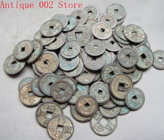 Collect 10pcs Chinese Bronze Coin Old Dynasty Antique Currency Cash