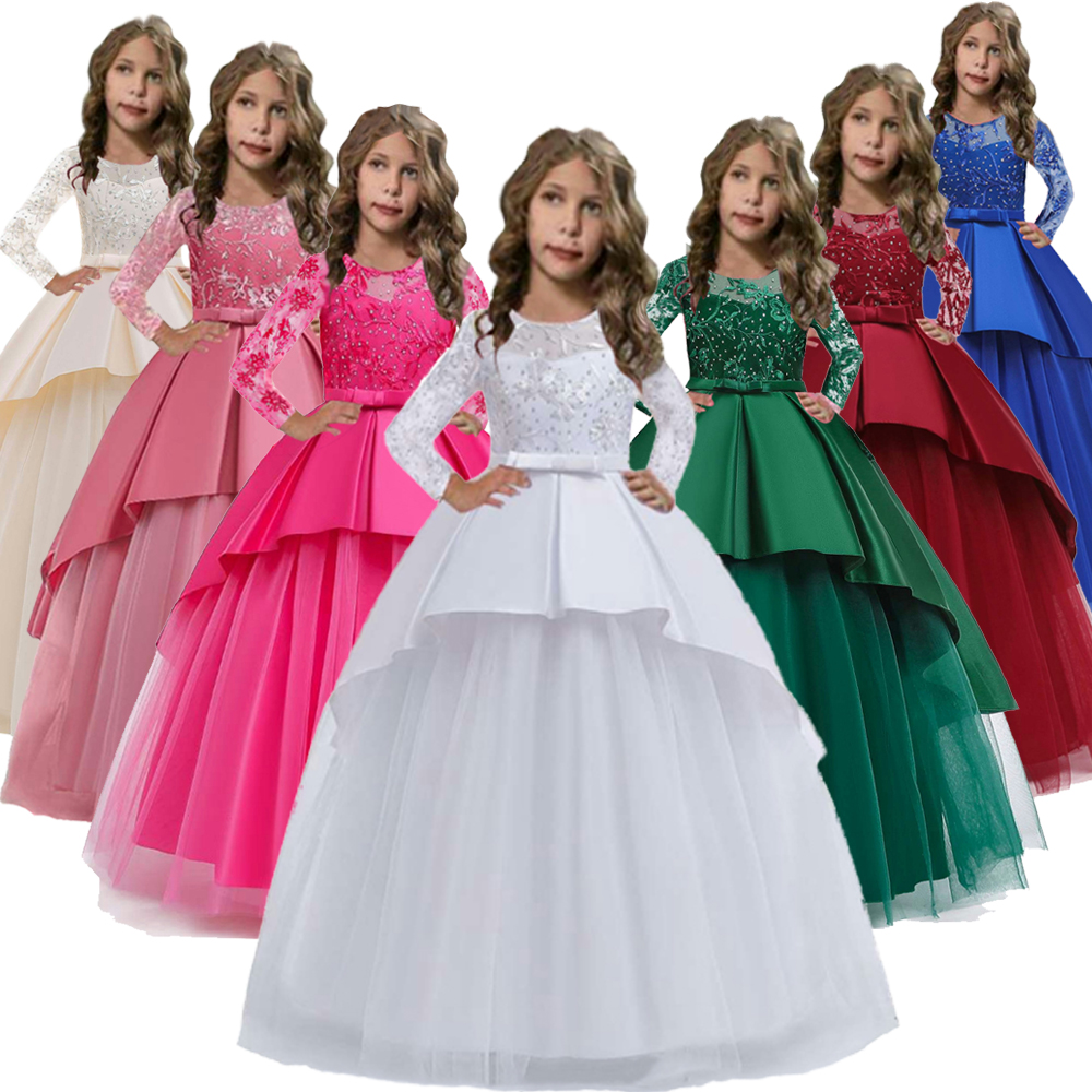 Hot Sales 2020 New Style White Flower Girl Dresses For Weedings First Communion Party Dress Long Sleeves Girls Ball Gown 10 Year