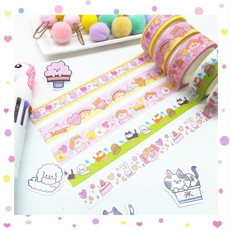 1Pc Cute Cartoon Washi Tape Kawaii Adhesive Tape Decor Masking Tapes For Kids Scrapbooking DIY Supplies Stationery
