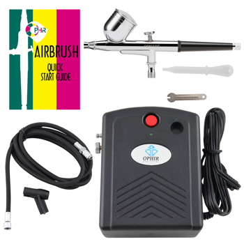 OPHIR Dual-Action Airbrush Kit with Mini Compressor for Body Paint Makeup Nail Art Airbrush Compressor Set _AC034+AC004+AC011