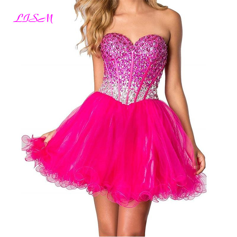 Sweetheart Beaded Crystals Mini Homecoming Dresses Ruffled Sequins Organza Prom Dress Short Party Gowns 2019