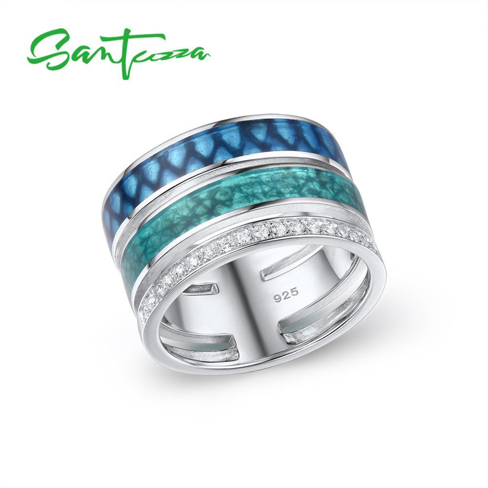 SANTUZZA Silver Rings For Women Genuine 925 Sterling Silver Colorful Enamel Sparkling CZ Trendy Party Fine Jewelry Handmade