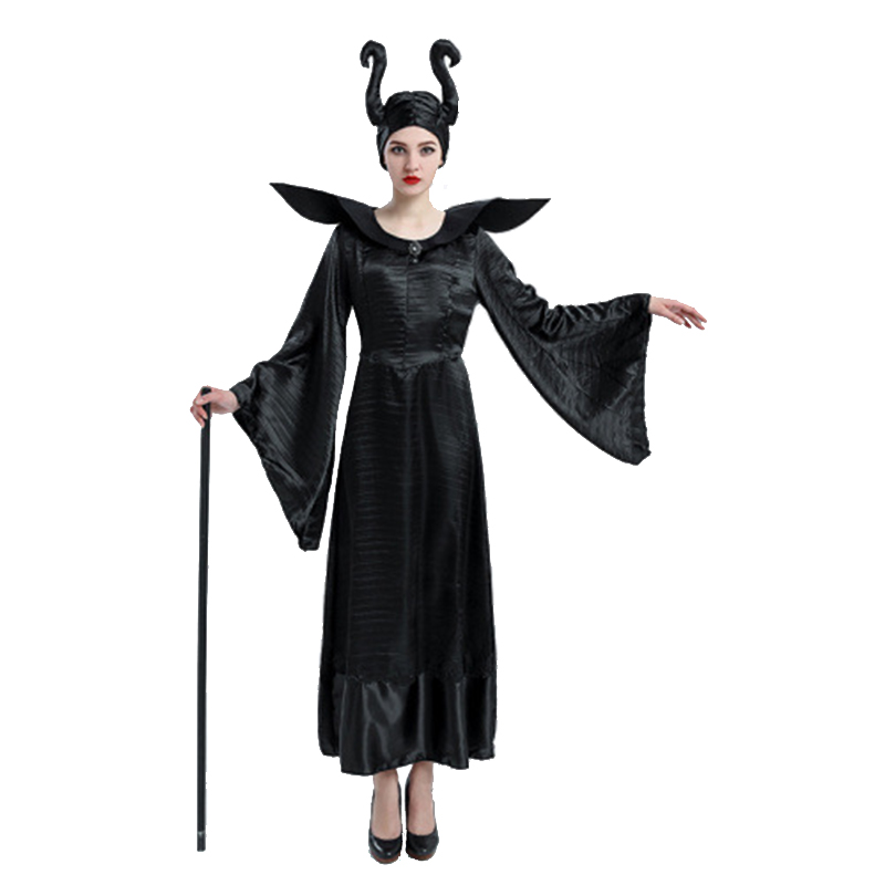 Carnival Lady Maleficent Costume Fairy Demon Evil Witch Thin Style Cosplay Halloween Party Fancy Dress