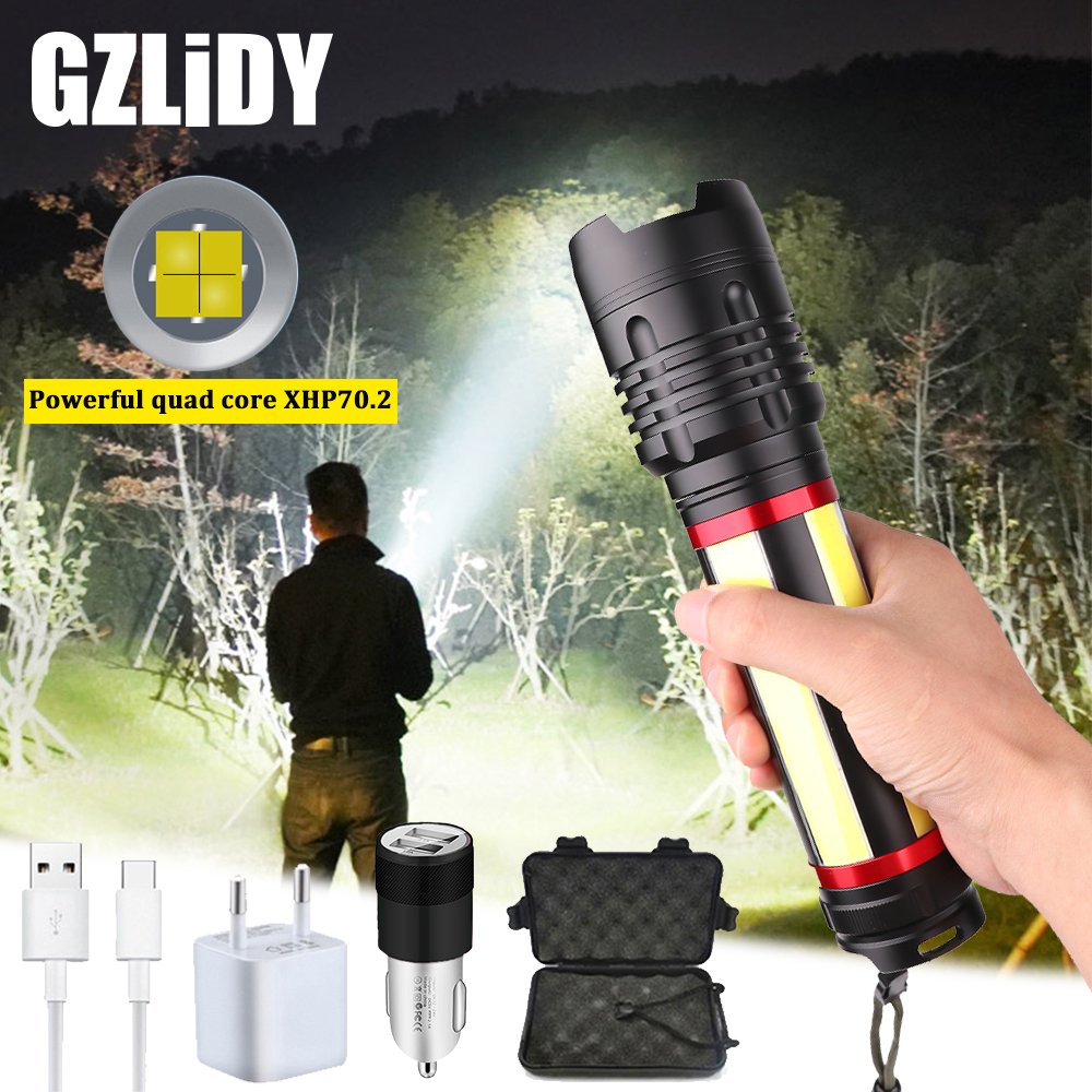 Super Bright LED Flashlight XHP70.2+COB Glare Tactical Torch Waterproof Zoom Camping Light with USB Input and Output Function|LED Flashlights|   - title=