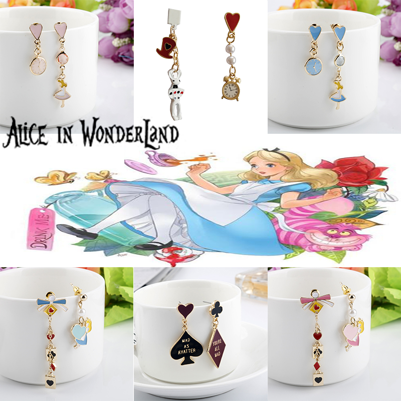 Lovely Alice In Wonderlands Charm Earrings For Women Poker Alice Clock Rabbit Long Earrings Ear Jewelry