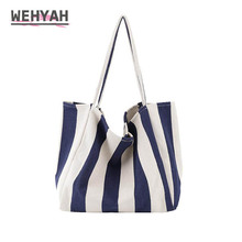 Wahyah Retro Striped Canvas Ladies Hand Bags for Woman Handb