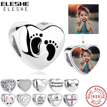 ELESHE Romantic Custom Photo Heart Charms fit Original Pandora Bracelet 925 Sterling Silver Beads DIY Jewelry Making
