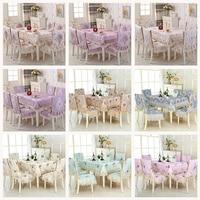 High quality European jacquard Table Cloth Rectangular Dining Table Chair Cover 1PCS tablecloth 6PCS chair cover bundle sale A1