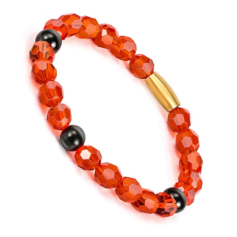 BOFEE Red Glass Beaded Bracelet String Link Stretch Trendy Yoga Custom Hand Chain Fashion Jewelry Gift Friendship For Women