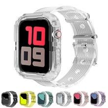 Banda de silicona correa para apple watch 5 4 bandas 42mm 38mm deporte correa transparente para iwatch serie 5 4 3/2/1 correa de reloj de 44mm 40mm