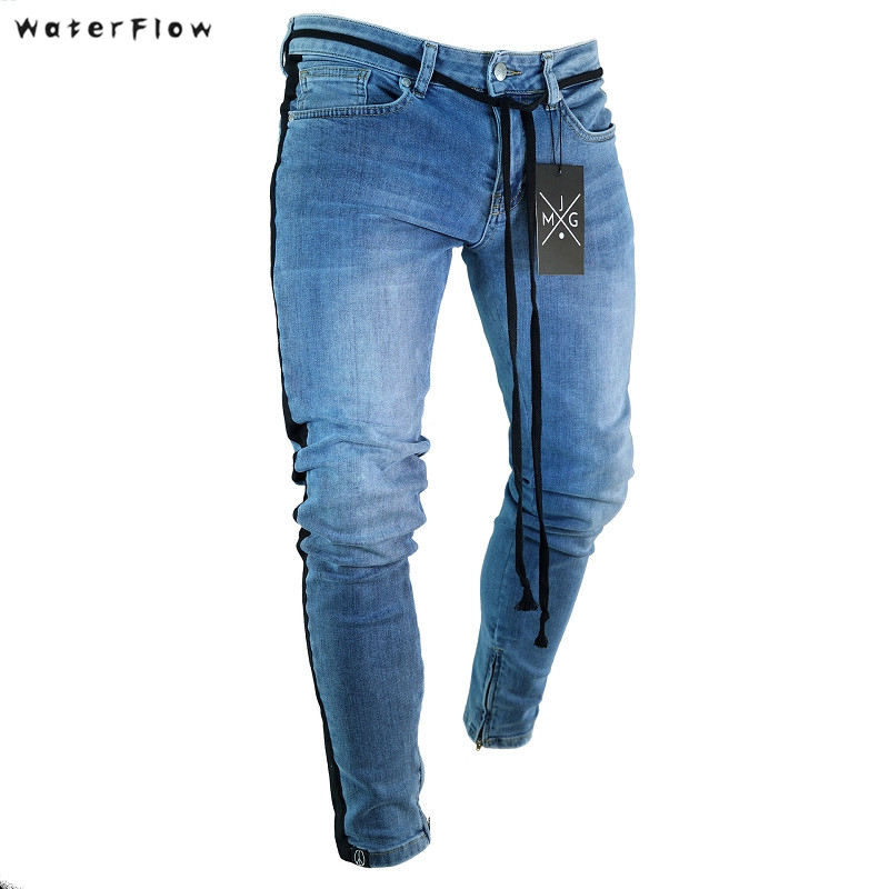 2019 new Knee Hole Side Zipper Slim Distressed   Jeans   Men Ripped tore up streetwear For Men slim stripe pants