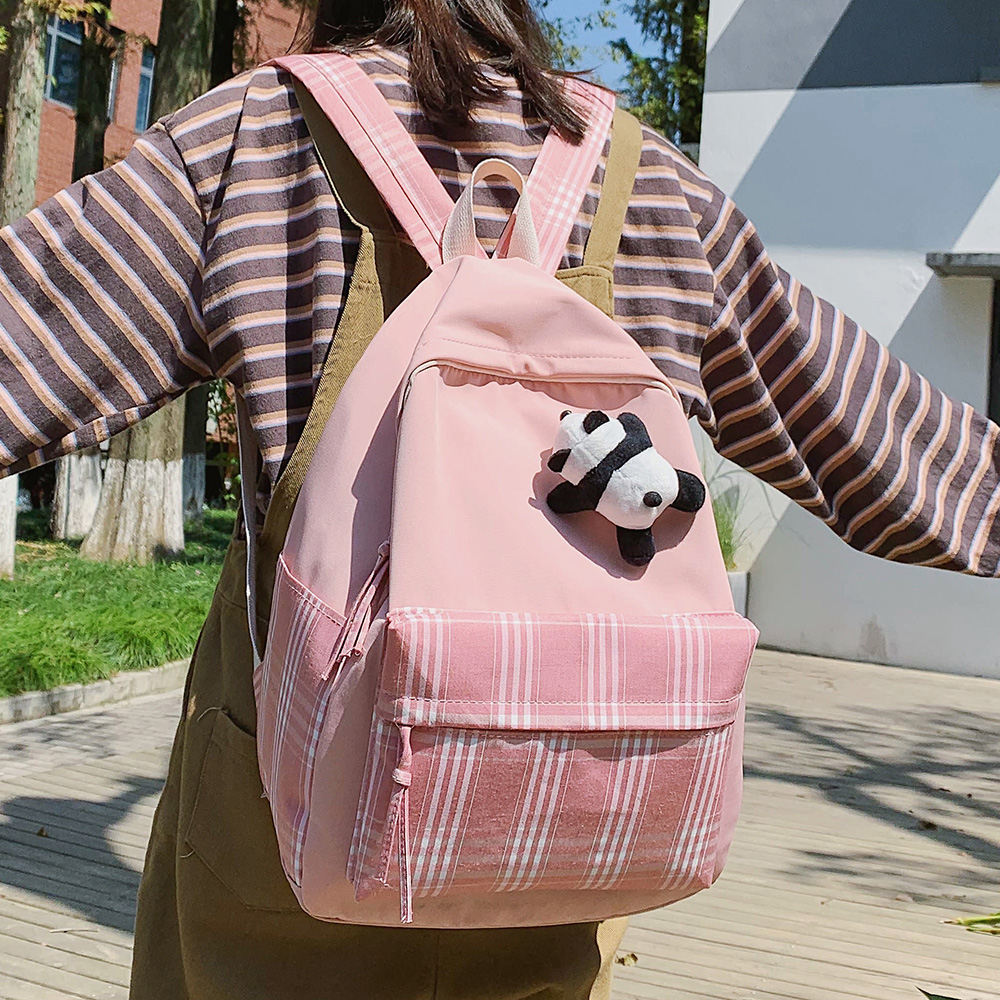Student Female Cute Backpack Women Fashion School Bag Harajuku Girl Waterproof Nylon Kawaii Backpack Striped Lattice Ladies Bags