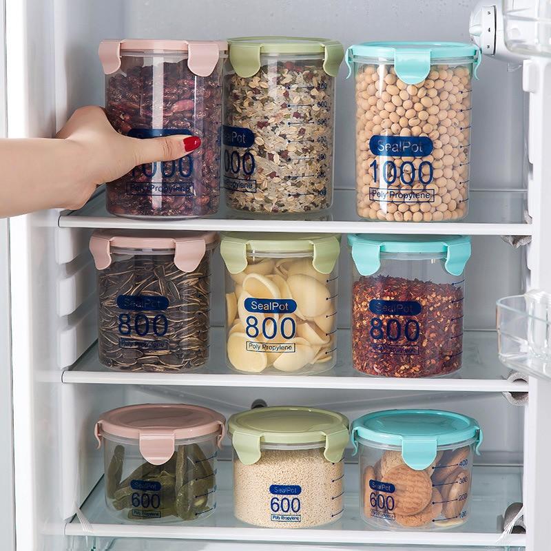 1627 Household Transparent Sealed Plastic Cans Food Jar Kitchen Grains Storage Box Storage Jar