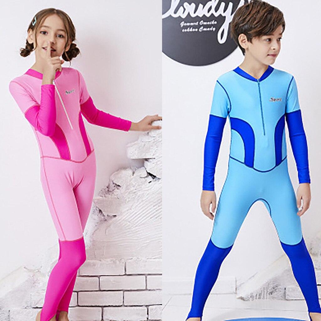 Unisex Kid Boy Swimwear Full Length Wetsuit Surfing Diving Swimming Suit Costume