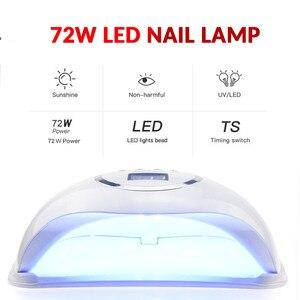 Image 2 - 72/54/45W UV Lamp Gel LED Nail Lamp High Power For Nails All Gel Polish Nail Dryer Sensor Sun Led Light Nail Art Manicure Tools