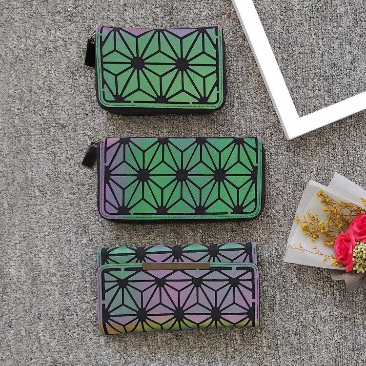 Fashion Women Wallet Purses Geometric Luminous Wallet Clutch Female Long Standard Wallets Money Bag Card Holder Purse