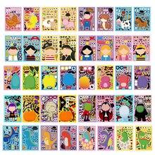Faça um rosto crianças adesivos jogos de quebra-cabeça princesa traje animal montar jigsaw diy adesivos treinamento reconhecimento brinquedo educacional