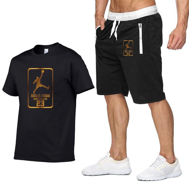 Мужской костюм Jordan 23 из двух предметов, футболка и шорты, спортивная одежда, бег, Баскетбол, лето
