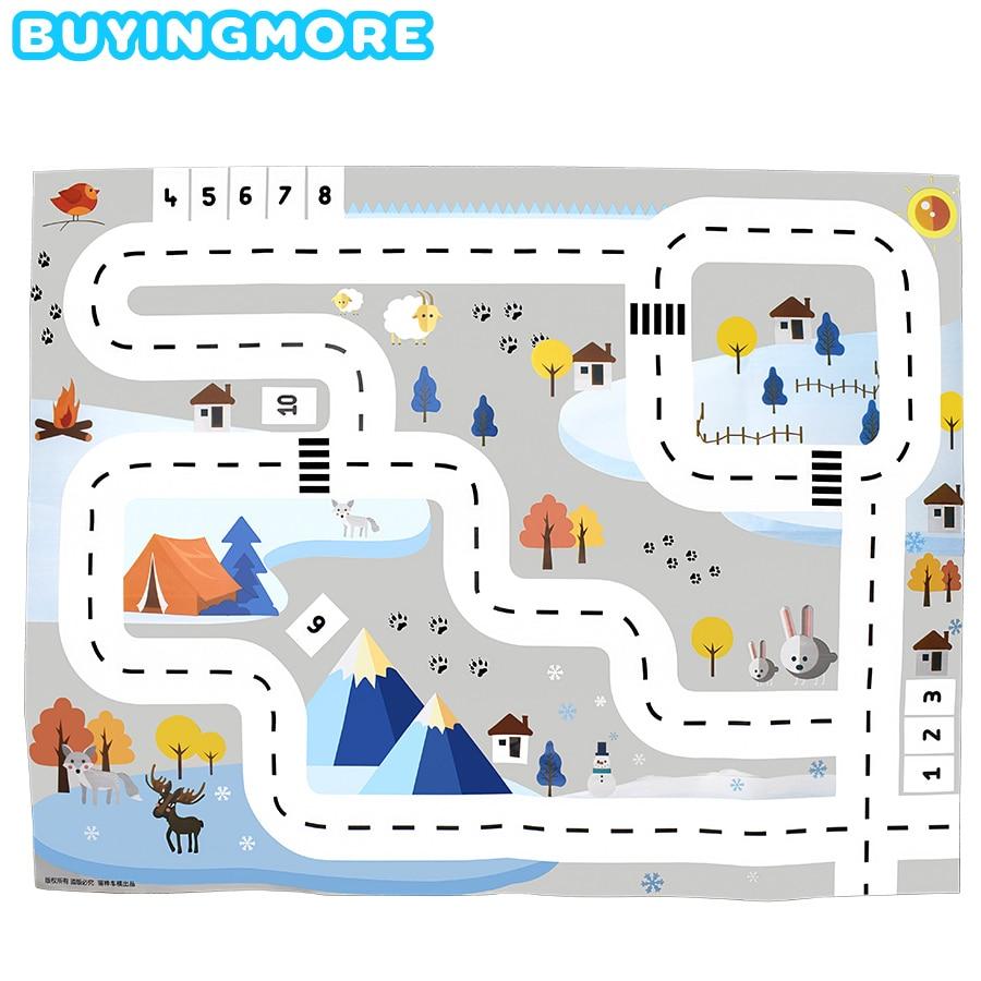 130*100 CM Nordic Village Snow Scene Map Baby Play Mat Traffic Road Car Park Kids Games Toys Kids Room Playmat Waterproof Soft