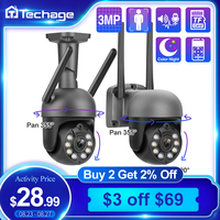 Techage cámara IP inalámbrica Wifi 3MP 1080P de dos vías de Audio registro cámara de seguridad Color P2P CCTV vídeo de exterior de vigilancia