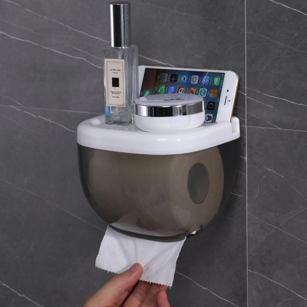 Toilet Paper Holder Waterproof Mobile Phone Storage Shelf Wall Mounted Rack  Tray  Roll Paper Tube Tissue Box Home Bathroom