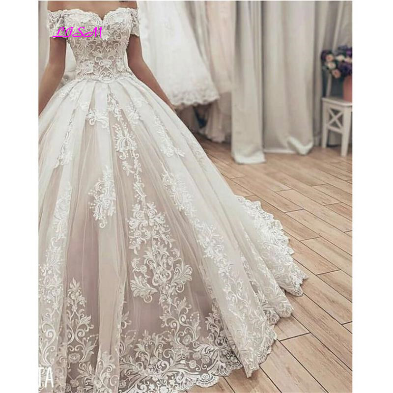 Muslim Lace Ball Gown Wedding Dresses 2021 Gorgeous Sweetheart Off the Shoulder Appliques Bridal Dress Long Wedding Party Gowns