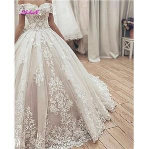 Image 3 - Muslim Spitze Ballkleid Brautkleider Gorgeous Schatz Weg Von der Schulter Appliques Braut Kleid Lange Hochzeit Party Kleider 2020