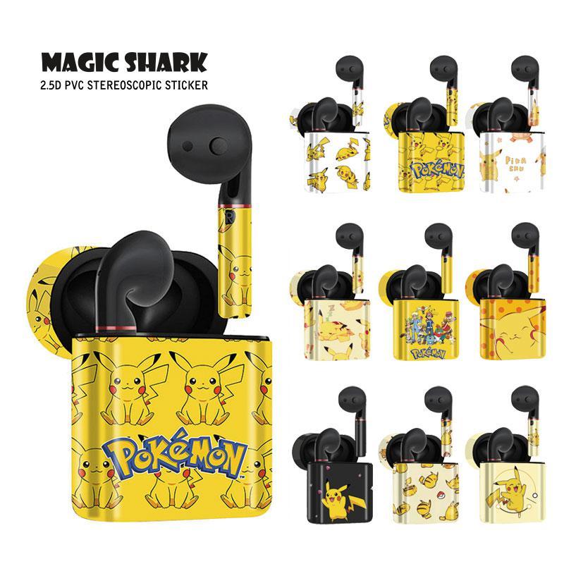 Magic Shark Cartoon Cute Pikachu Pokemon PVC Sticker Case Film Wrap Skin For HUAWEI Freebuds 2 & 2 Pro No Fade