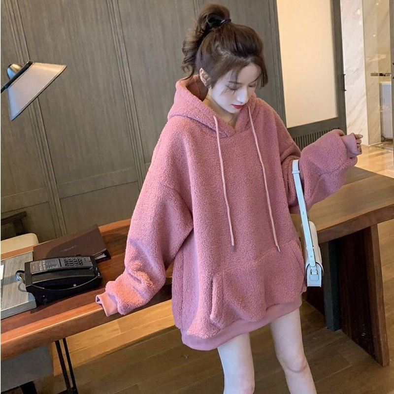 EACHIN Women's Hoodies Female Oversize Letter Embroidery Warm Hooded Tops Tracksuit Sweatshirt Long Sleeve Loose Sportswear Coat