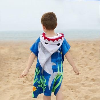 Kids Poncho Towels Hooded Bathrobe for Girls Boys Quick Dry Cotton Beach Towel Cartoon Children Bath Towel Baby Swimming Towel 2