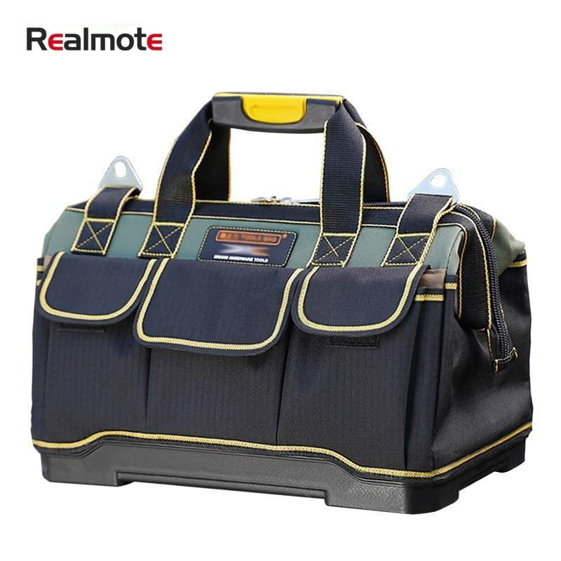 Realmote Electrician Tools Bag Carpentry Hardware Repair Portable Storage Organizers Box Work Spanner Toolbox Kitbag Big Toolkit