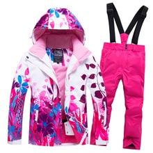 2020 Hoodie Fleece Kids Ski Clothes Snowboarding Ski Suits for Girls Jacket Pants Children's Snow Sets -30 Sport Girl Clothes