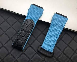 Image 5 - 25mm men nylon fabric with leather Watchband For Richard Watch Mille Strap band Bracelet buckle for spring bar version free tool