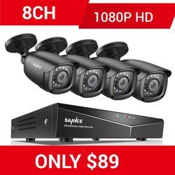 SANNCE RU 8CH 1080P 5IN1 Casa Sistema de CFTV Com DVR 4 1080N pcs Inteligente 1080P IR À Prova de Intempéries Ao Ar Livre kit de Vigilância de Vídeo da câmera
