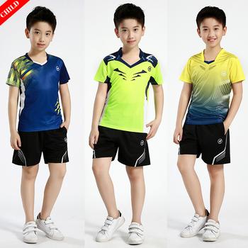 Nowy dla dzieci zestawy sportowe Badminton ubrania dla dzieci chłopcy zestawy do tenisa stołowego chłopcy tenis ubrania dziewczyny odzież do biegania tanie i dobre opinie ZISURON Poliester spandex Krótki JERSEY Pasuje prawda na wymiar weź swój normalny rozmiar Szybkie suche Oddychająca