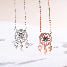 Rose Gold&Silver 100 language I Love You Necklace 925 Sterling Sliver Dream Catcher Statement Necklaces For Women 2019 KXL1188